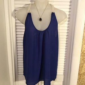 Annabelle Tops - Annabelle 3X blue chiffon blouse w/ pearls…